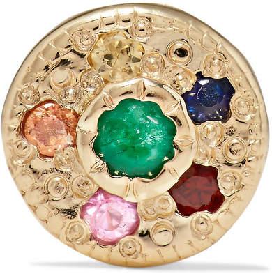 Jennie Kwon Designs - Halo 14-karat Gold, Emerald And Sapphire Earring