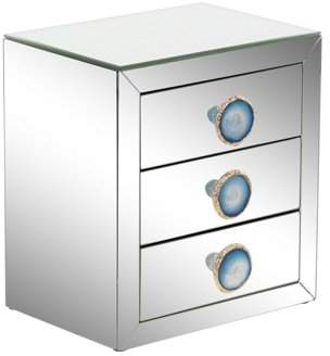 DecMode Decmode Modern Wood And Mirror 3-Drawer Jewelry Box, Reflective