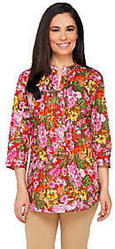 Liz Claiborne New York Floral Print ButtonFront Tunic