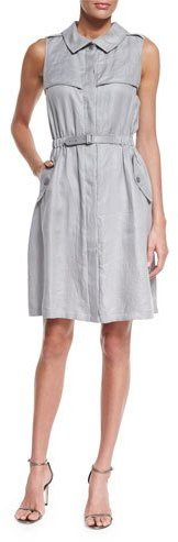 Armani Collezioni Sleeveless Belted Trench Dress, Dust