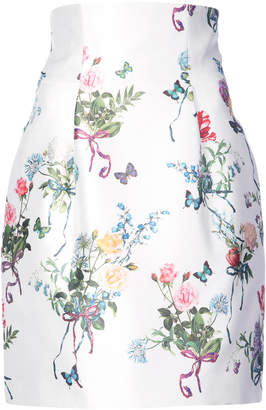 Monique Lhuillier high-waisted floral print skirt