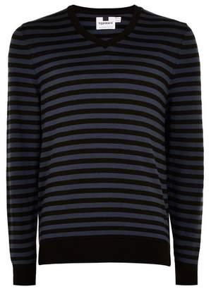 Topman Mens Blue Stripe V Neck Sweater