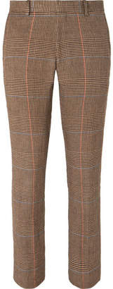 Dries Van Noten Brown Slim-Fit Cropped Prince Of Wales Checked Linen Suit Trousers