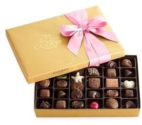 Godiva Chocolatier 36-Piece Assorted Chocolate Gold Gift Box, Pink Ribbon
