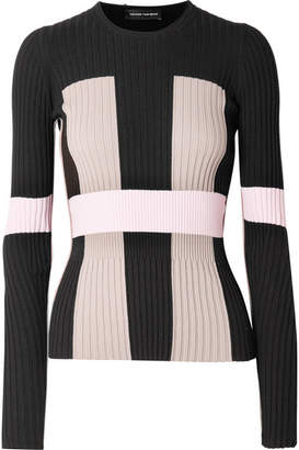 Narciso Rodriguez Color-block Ribbed Stretch-knit Sweater - Black