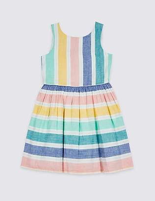 Marks and Spencer Striped Bow Back Dress (3-16 Years)