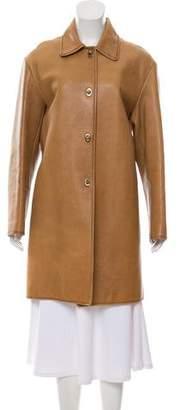 Miu Miu Leather Knee-Length Coat