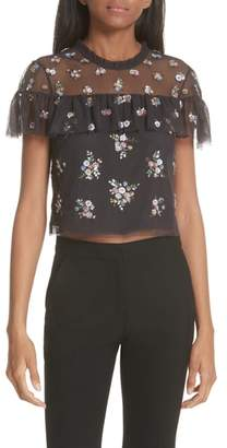 Needle & Thread Floral Sequin Crop Top