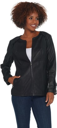 Denim & Co. Faux Leather Zip-Front Jacket with Ruffle Detail