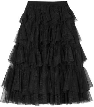 Needle & Thread Tiered Jacquard-tulle Midi Skirt - Black