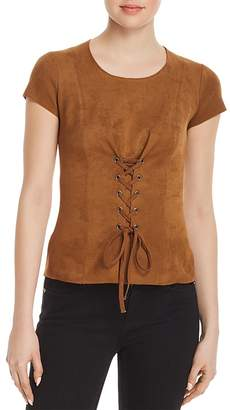 Bailey 44 Ricochet Faux-Suede Lace-Up Top