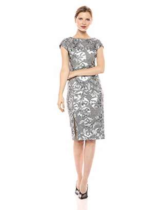 ECI New York Women's Cap Sleeve Silver Floral Foiled Printed Sheath Dress