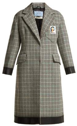 Prada Bow Trim Houndstooth Wool Blend Coat - Womens - Green Multi