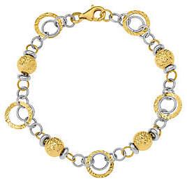 QVC 14K Two-tone Rings & Beads Bracelet, 6.1g