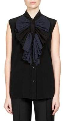 Givenchy Pleated Crepe De Chine Sleeveless Top