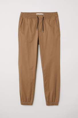 H&M Brushed Cotton Twill Joggers - Beige