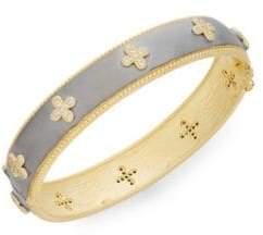 Freida Rothman 14K Yellow Gold Vermeil & Pavé Clover Bangle Bracelet