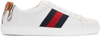 Gucci White New Ace Tiger Sneakers $640 thestylecure.com