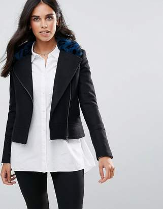 Helene Berman Wool Blend Biker Jacket with Faur Fur Collar