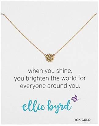 "Swarovski ellie byrd 10k Gold Sun Necklace Made with Crystal (17"")"