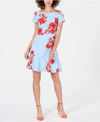 Adrianna Papell Floral Ruffle-Hem Dress