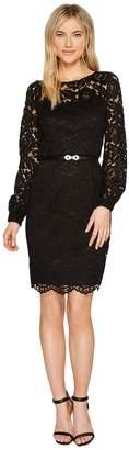 Ellen Tracy Lace Dress with Embellished Belt Women's Dress
