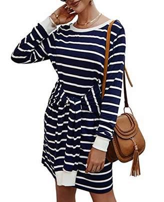 KIRUNDO Fashion Women 2019 Sweatshirt Knit Dress Long Sleeves Crew Neck T-Shirt Dress A Lined Front Tie Waist Midi Dress (