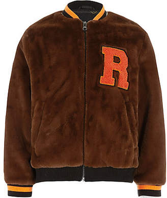 River Island Boys brown faux fur tipped bomber jacket