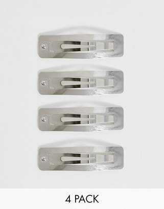 Asos Design DESIGN pack of 4 square snap hair clips in silver tone