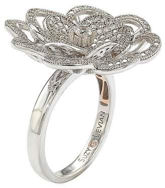 LeVian Suzy Jewelry Sterling Silver CZ Flower Ring