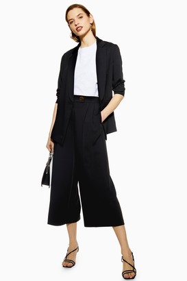 Topshop Womens Black Cropped Wide Leg Trousers - Black
