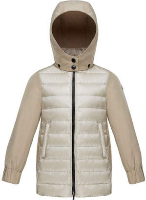 Moncler Cleofen Twill/Down Combination Coat, Size 8-14