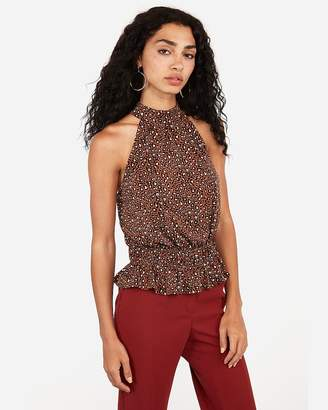 Express Leopard Print High Neck Peplum Tank