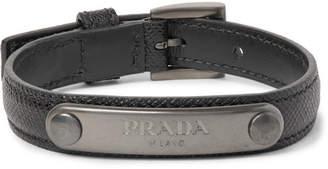 Prada Saffiano Leather And Gunmetal-Tone Id Bracelet