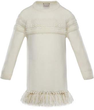 Moncler Mixed-Knit Sweater Dress w/ Metallic Tassel Hem, Size 8-14