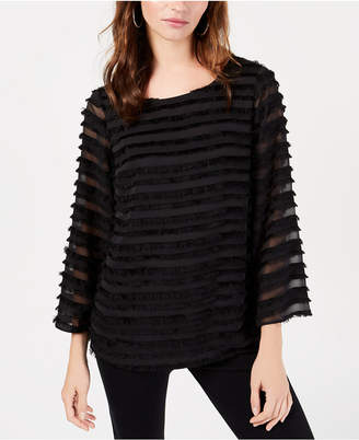 Alfani Striped Lantern-Sleeve Fringed Blouse