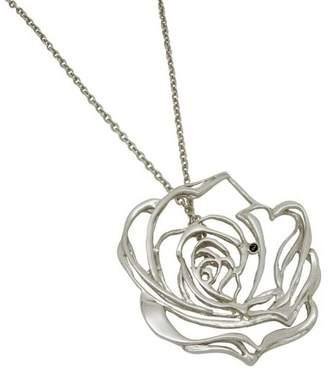 Josie Harriet Bedford Rose Black Diamond And Silver Pendant