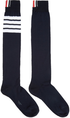 Thom Browne Navy Ribbed Knee-High Four Bar Socks $90 thestylecure.com