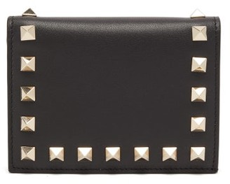 Valentino Rockstud Leather Wallet - Womens - Black