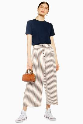 Topshop Womens Tan Stripe Crop Wide Trousers - Tan