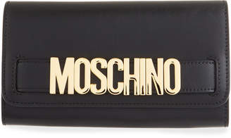 Moschino Calf Leather Shopping Wallet, Black