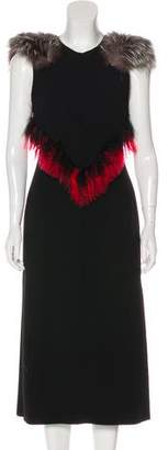 Proenza Schouler Fox-Trimmed Midi Dress