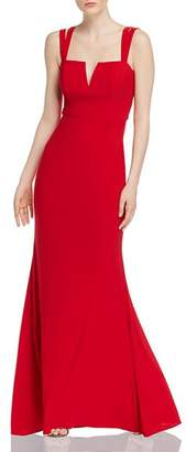Aqua Fluted Strap-Detail Gown - 100% Exclusive