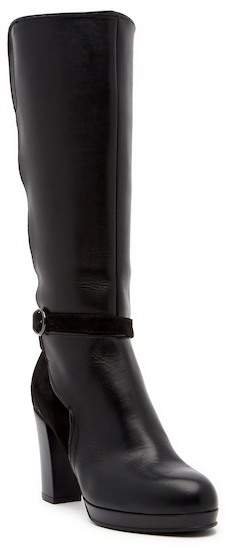 Manas Leather & Suede Buckled Block Heel Tall Boot