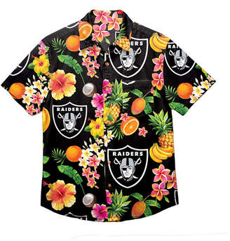 Forever Collectibles Men Oakland Raiders Floral Camp Shirt