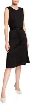 St. John Tangier Jewel-Neck Sleeveless Belted Dress