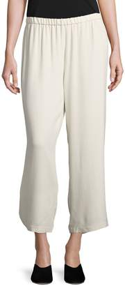 Eileen Fisher System Straight Silk Cropped Trousers