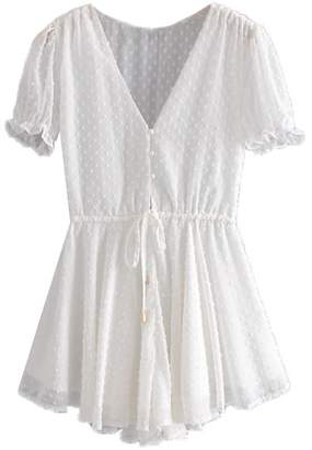8af55a89bb34 Goodnight Macaroon  Rikki  Dotted Print Sheer Ruffled Romper