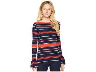 Lauren Ralph Lauren Bell-Sleeve Striped Top