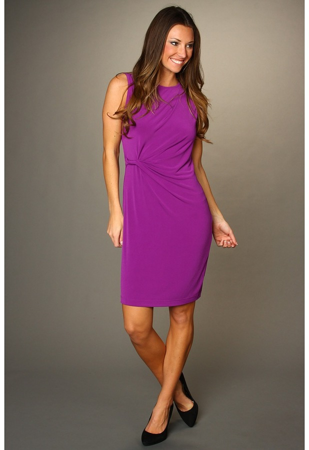 Donna Morgan Kelsey Sleeveless Side Twist Dress (Orchid) - Apparel